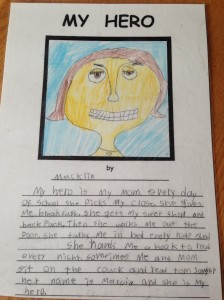 Macklin's My Hero Words and Drawing from 2nd Grade.
