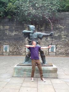 Turnquist son posing in Nottingham, England.