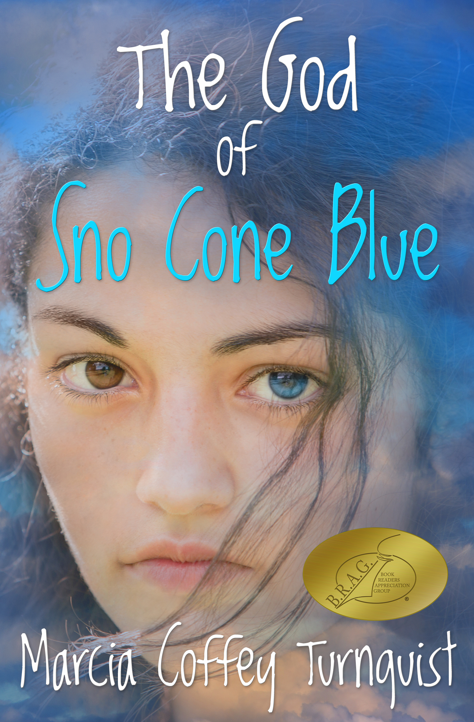 Cover of the novel The God of Sno Cone Blue with medallion.