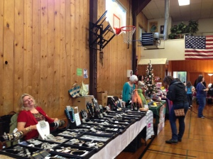 View of a holiday market with jewelry.
