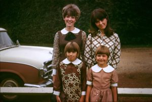 Sisters in brown outfits, circa 1968.