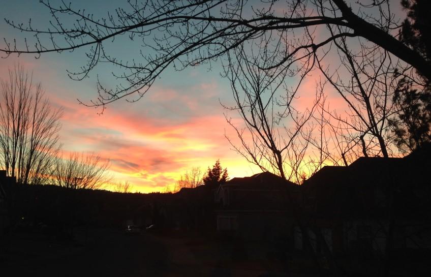 Sunrise over neighborhood.