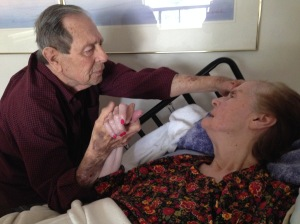 Hazel grasping Claytons hand.